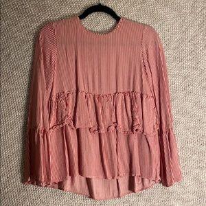 Zara Trafuluc Red&White Stripe Long-Sleeve Blouse